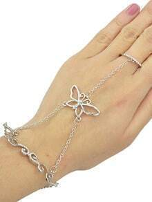 Silver Rhinestone Bracelet with Rings
