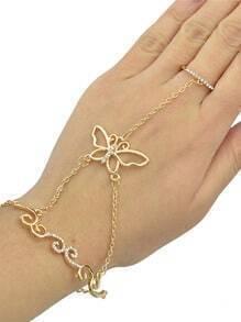 Gold Rhinestone Bracelet with Rings