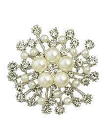 Silver Trendy Pearl Flower Brooch