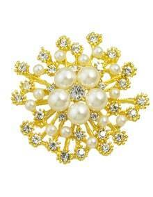 Gold Trendy Pearl Flower Brooch