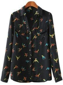 Multicolor Pockets Buttons Front Swallows Print Blouse