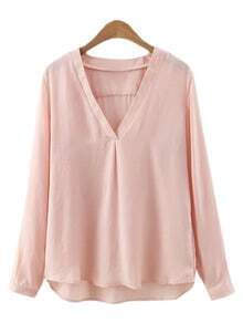 Nude Dip Hem V Neck Long Sleeve Blouse