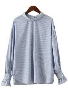 Blue White Stripe Buttons Back Lantern Sleeve Blouse