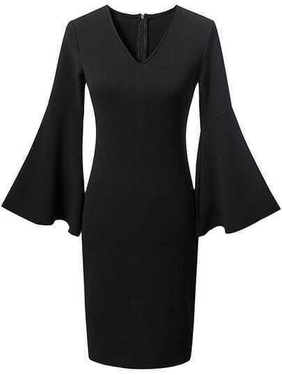 Black V Neck Zipper Back Bell Sleeve Dress
