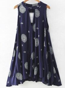 Navy Pocket Cut Out Front Vintage Print Dress