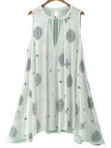 Beige Pocket Cut Out Front Vintage Printed Dress