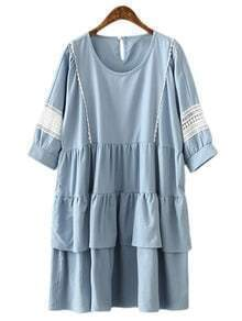Blue Keyhole Back Ruffle Crochet Splicing Doll Dress