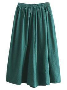 Green Elastic Waist Wide Leg Cotton Hemp Culottes