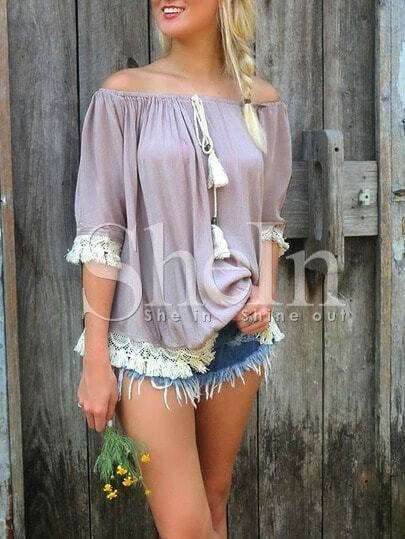 Rose Brown Off The Shoulder Tassel Shift Blouse