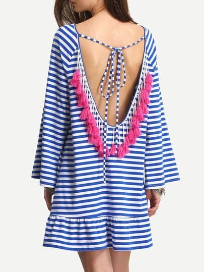 Pinstripe Tie Backless Tasseled Frill Hem Dress