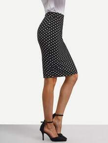 Black Polka Dot Split Bodycon Skirt