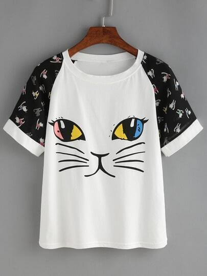 Raglan Sleeve Cat Print T-shirt