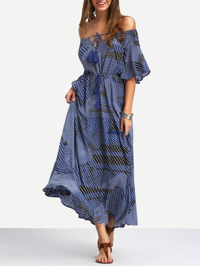 Navy Off The Shoulder Tie-waist Ruffle Hem Maxi Dress