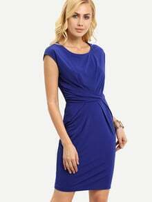 Royal Blue Cap Sleeve Pleated Sheath Dress