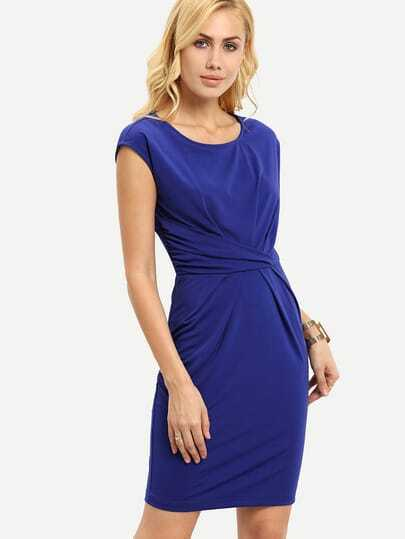 Royal Blue Cap Sleeve Pleated Sheath Dress