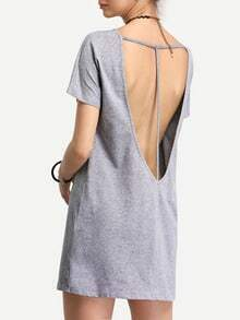 Grey Short Sleeve Cut Out Back T-shirt Dress