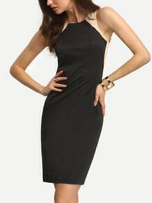 Black Sleeveless Sheath Work Dress