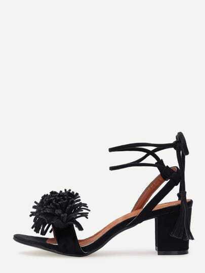 Tassel Strap Lace-Up Block Heel Sandals - Black