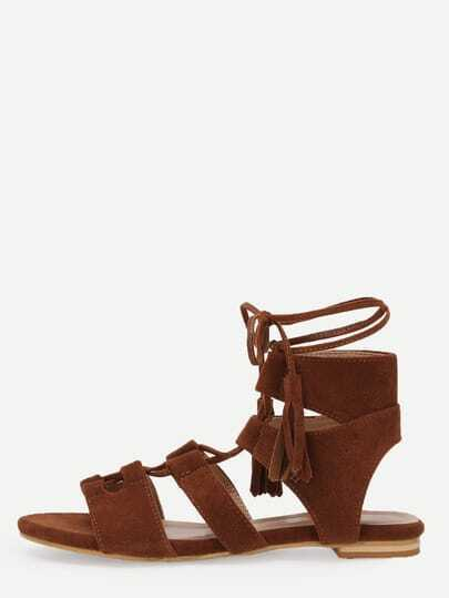 Brown Faux Suede Caged Lace-Up Flat Sandals