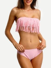 Cutout Fringe Bandeau Bikini Set