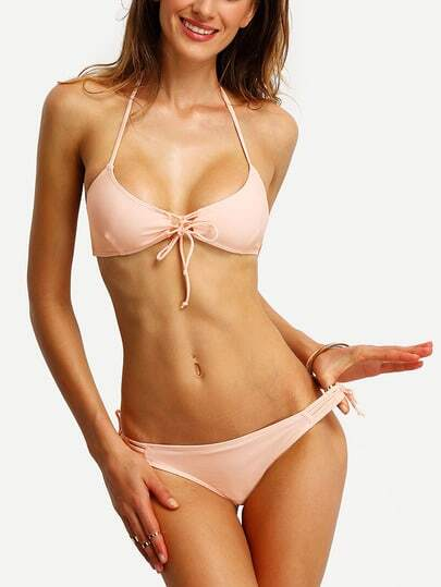Halter Lace-Up Bikini Set