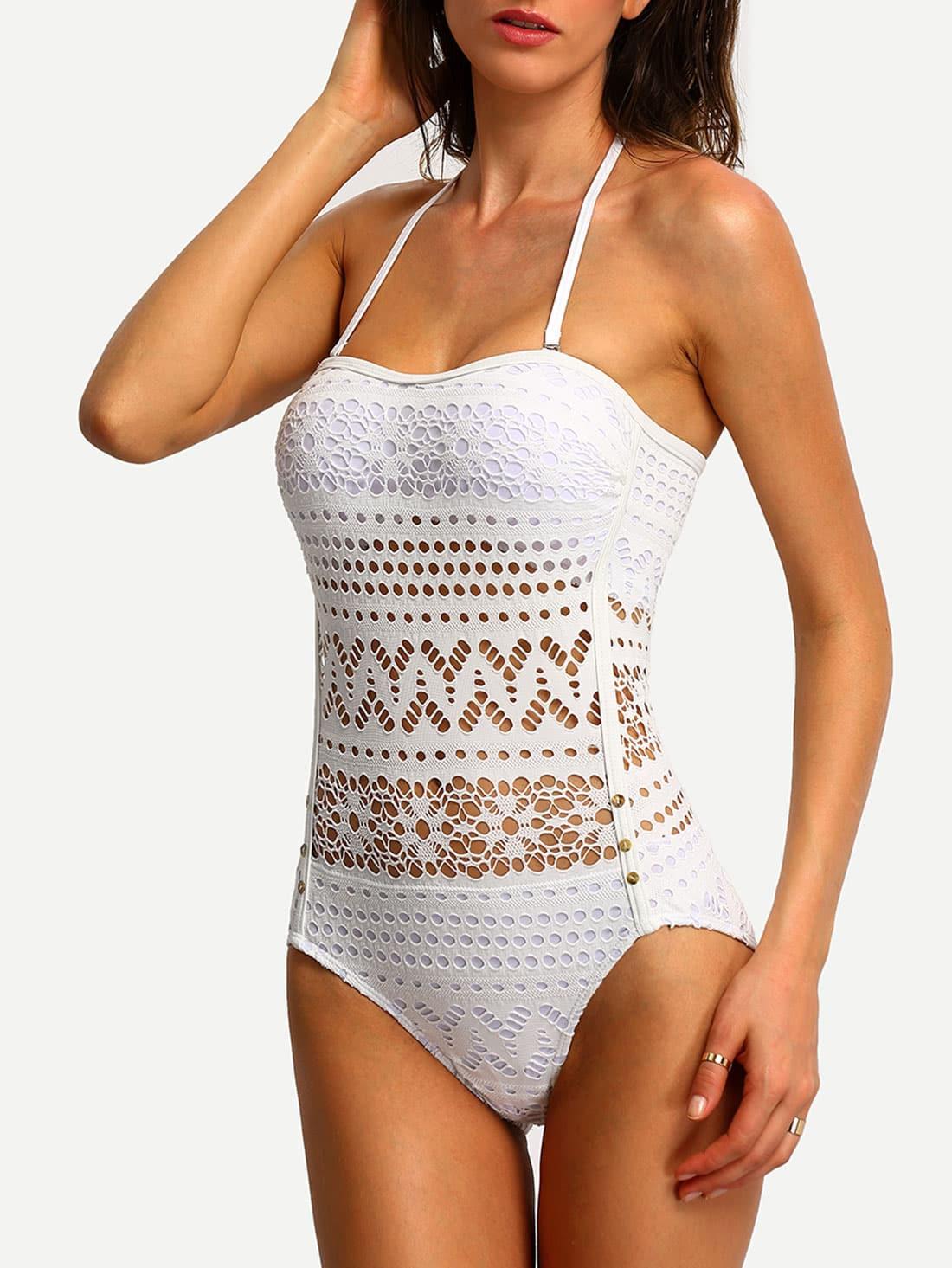 Halter Laser-Cut One-Piece Swimwear