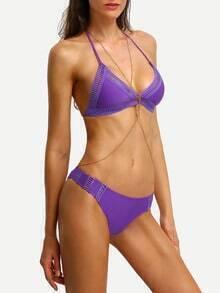 Halter Ladder-Cutout Triangle Bikini Set