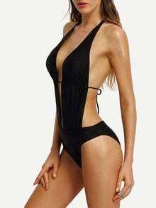 Costume da bagno intero scollo a V a schiena nuda con spalline allacciate