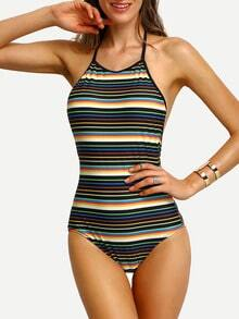 Colorful Stripe Halter Backless One-Piece Swimwear
