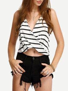 Striped Halter Drape Front Cami Top