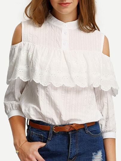 Ruffled Cutout Shoulder Blouse