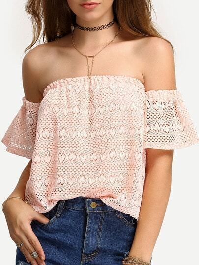 Off-The-Shoulder Hollow Out Lace Blouse