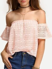 Off-The-Shoulder Hollow Out Lace Blouse - Pink