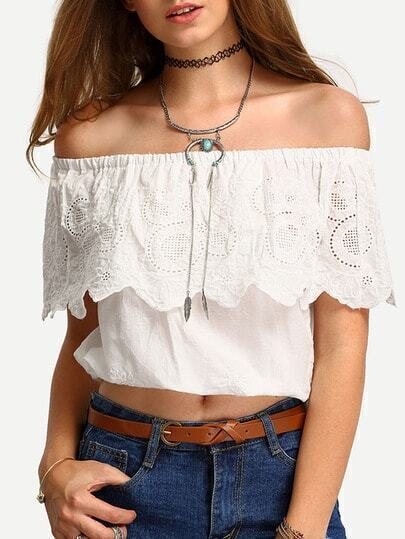 Off-The-Shoulder Embroidery Ruffled Blouse