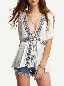 Embroidery Slit Sleeve Deep V Blouse