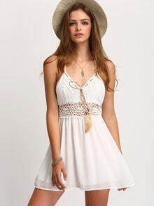 Halter Crochet Top Chiffon Skater Dress
