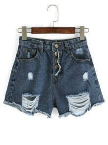 Ripped Buttoned Fly Denim Shorts