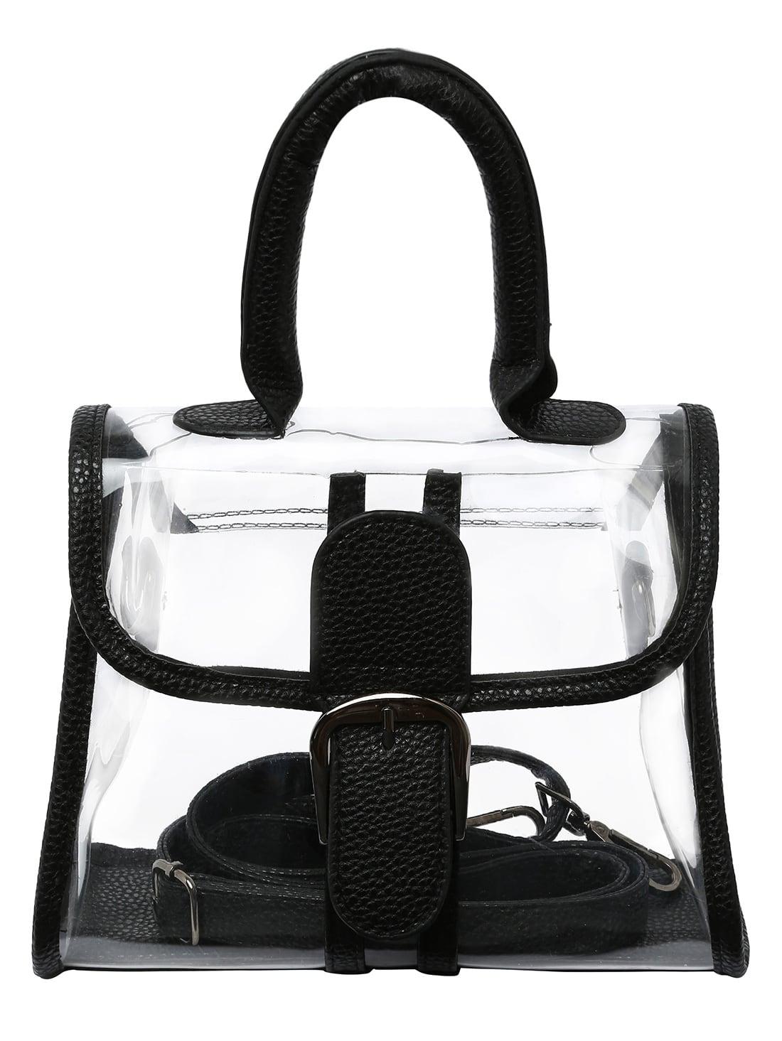 Oversized Buckle Transparent Handbag