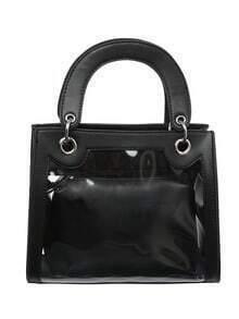 Transparent Handbag With Faux Leather Purse