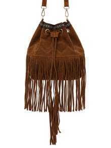 Brown Faux Suede Fringe Bucket Bag