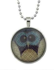 Silver Plated Owl Round Necklace