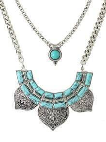 Silver Plated Turquoise Collar Necklace