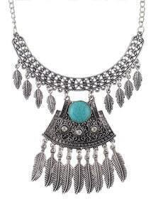 Silver Plated Turquoise Statement Necklace