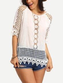 White Lace Crochet Beach Blouse