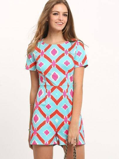 Multicolor Short Sleeve Print Jumpsuit