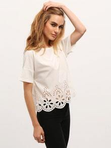 White Half Sleeve Hollow T-shirt
