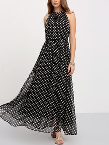 Black Sleeveless Polka Dot Maxi Dress
