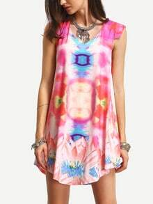 Multicolor Sleeveless Ikat Print Shift Dress