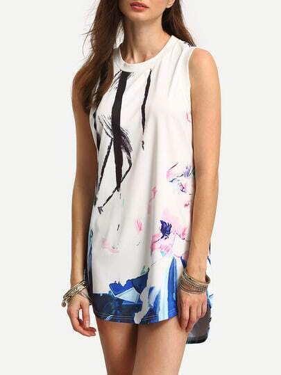 Multicolor Sleeveless Print High Low Vest Dress