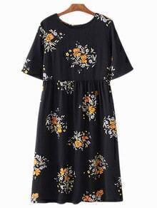 Multicolor Lace Up Back Floral Print Dress